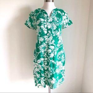Talbots green floral print linen dress sz6
